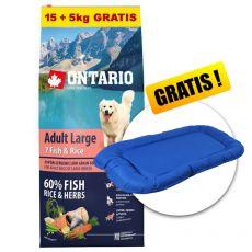 ONTARIO Adult Large 7 Fish & Rice 15+5kg ZDARMA+ DARČEK