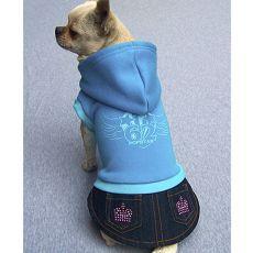 Mikina s riflovou sukničkou pre psa - modrá, XXL