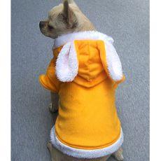 Mikina s kapucňou a s uškami pre psíkov - žltá, M