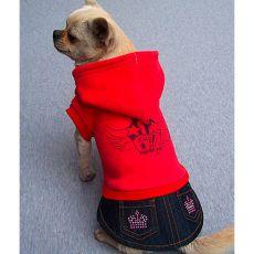 Mikina s riflovou sukňou pre psíka - červená, XXL