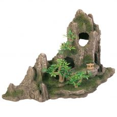 Dekorácia do akvária skala s jaskyňou a stromami