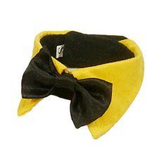 Motýlik pre psa - čierny so žltým golierom, S
