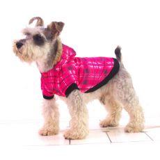 Bunda pre psa - károvaná, ružová, XL