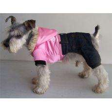 Bunda pre psa - lesklá ružová s nohavicami, XXL