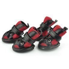 Topánky pre psy, sieťované červenočierne - veľ.2