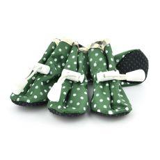 Topánky pre psov, zelené bodkované - veľ.5
