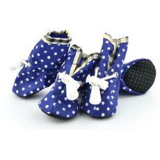 Topánky pre psov, modré bodkované - veľ.4
