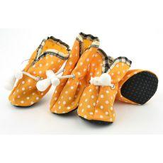 Topánky pre psov, oranžové bodkované - veľ.1