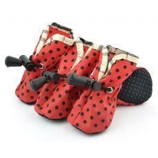 Topánky pre psov červené, čierne bodky - veľ.4