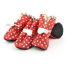 Topánky pre psov červené, biele bodky - veľ.4