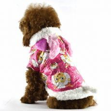 Bunda pre psa - ružová s kresleným baranom, L