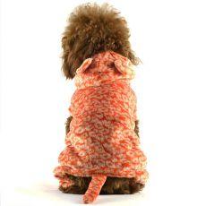 Overal pre psa - oranžový leopard s chvostom, XXL