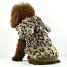 Kožuch pre psov - leopard s kapucňou, XL
