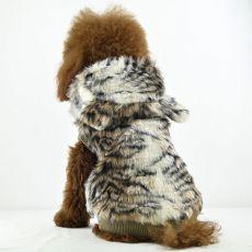 Kožuch pre psov - tiger s kapucňou, XL
