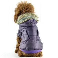 Vetrovka pre psov - lesklá fialová s kožušinkou, S