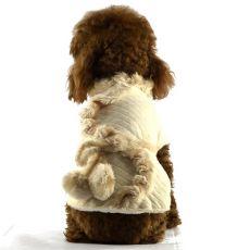 Kabátik pre psov - béžový s kožušinou, XL