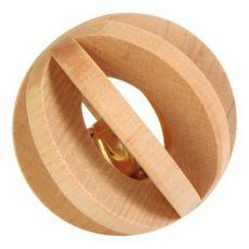 Hračka pre zajaca - drevená guľa s rolničkou, 6 cm