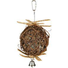 Lopta pre vtáky - prútená so zvončekom, 10 cm