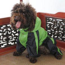 Overal pre psa - nepremokavý, zelenočierny, XS