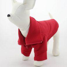 Mikina pre psa so zipsom - červená, L