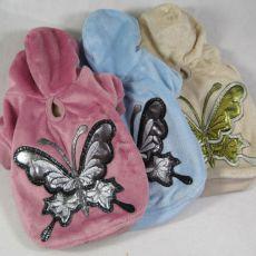 Mikina pre psov s motýľom - semišová modrá, L