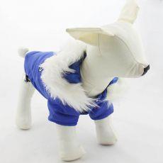 Vetrovka pre psa s kapucňou - modrá, S