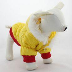 Vetrovka pre psa - červenožltá s kapucňou, XS