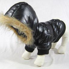 Vetrovka pre psa - čierna s kapucňou, XS