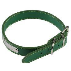 Koženkový obojok pre psa - zelený, 35 cm