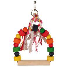 Hračka pre vtáky - farebná hojdačka s povrazom, 20x29 cm