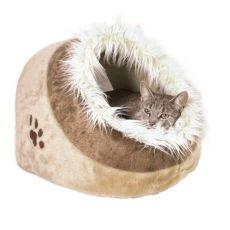 Plyšový pelech Minou pre psy a mačky - hnedý, 41x30x50cm