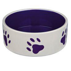 Miska pre psov, keramická - fialové labky, objem 1,4 l