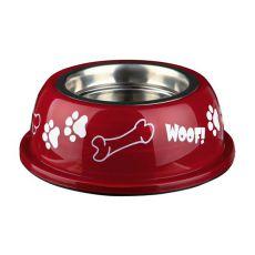 Miska pre psa s plastovým okrajom, červená - 0,9 L