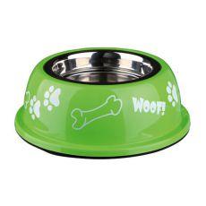 Miska pre psa s plastovým okrajom, zelená - 0,9 L