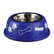 Miska pre psa s plastovým okrajom, modrá - 0,9 L