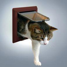 Dvierka pre mačku hnedej farby - štvorpolohové
