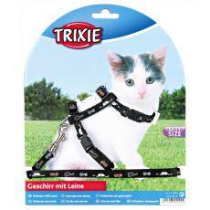 Postroj a vodítko pre mačiatka s motívom, čierny