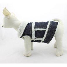 Riflová vesta pre psa - biela kožušinka, S