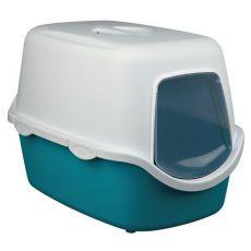 Toaleta pre mačky s dvierkami a rukoväťou - tyrkysová