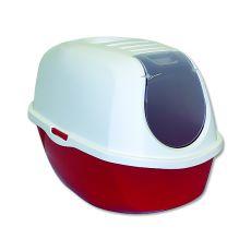 Toaleta pre mačky s krytom MAGIC CAT, červená - 39x53x41cm