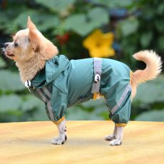 Pršiplášť pre psa reflexný - tmavozelený, XS