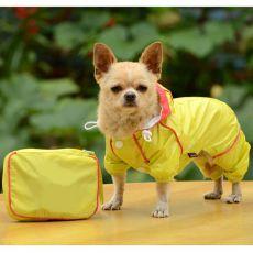 Pršiplášť pre psa v puzdre - žltý, XS
