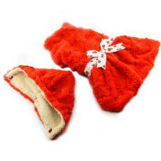 Svetrík pre psov - oranžový s kapucňou a mašličkou - XXL