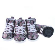 Topánky pre psov - maskáčové fialové, L