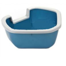 Rohová toaleta pre mačky DAMA - modrá - 57,5 x 51,5 x 22 cm