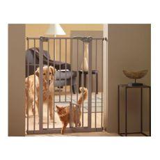 Bariéra pre psy s dvierkami, kovová, sivá - 75-84x107 cm