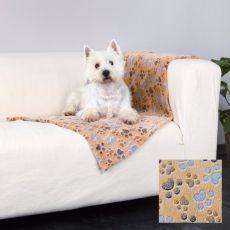 Deka pre psov LASLO - béžová s labkami, 75 x 50 cm