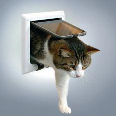 Dvierka pre mačky s tunelom - biele, 21 x 21 cm