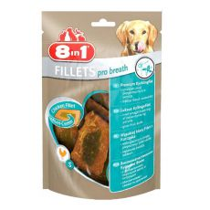 Kuracie filety pre psov 8 in 1 FILLETS PRO BREATH - 80g